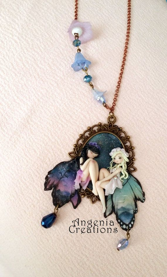 Entirely handmade pasta with polymer clay, long necklace