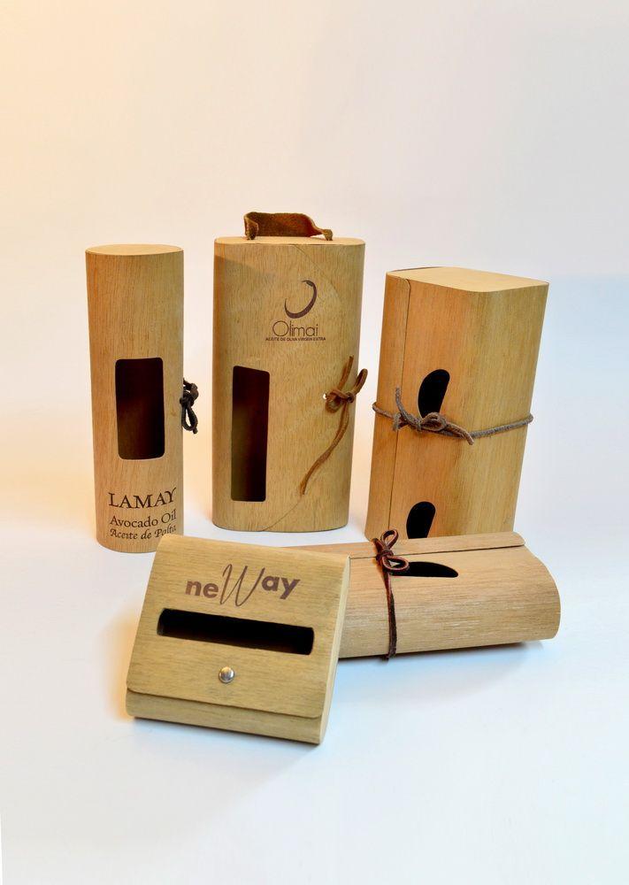 Porta productos de madera flexible troquelados