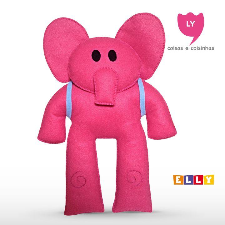 Elly É uma elefanta rosa que usa uma mochila azul. É uma grande amiga de Pocoyo e mais velha que ele, ajudando a tomar diversas decisões. Geralmente aparece passeando em seu patinete cor-de-rosa. #pocoyo #kids #party #elephant #cute #lycoisasecoisinhas