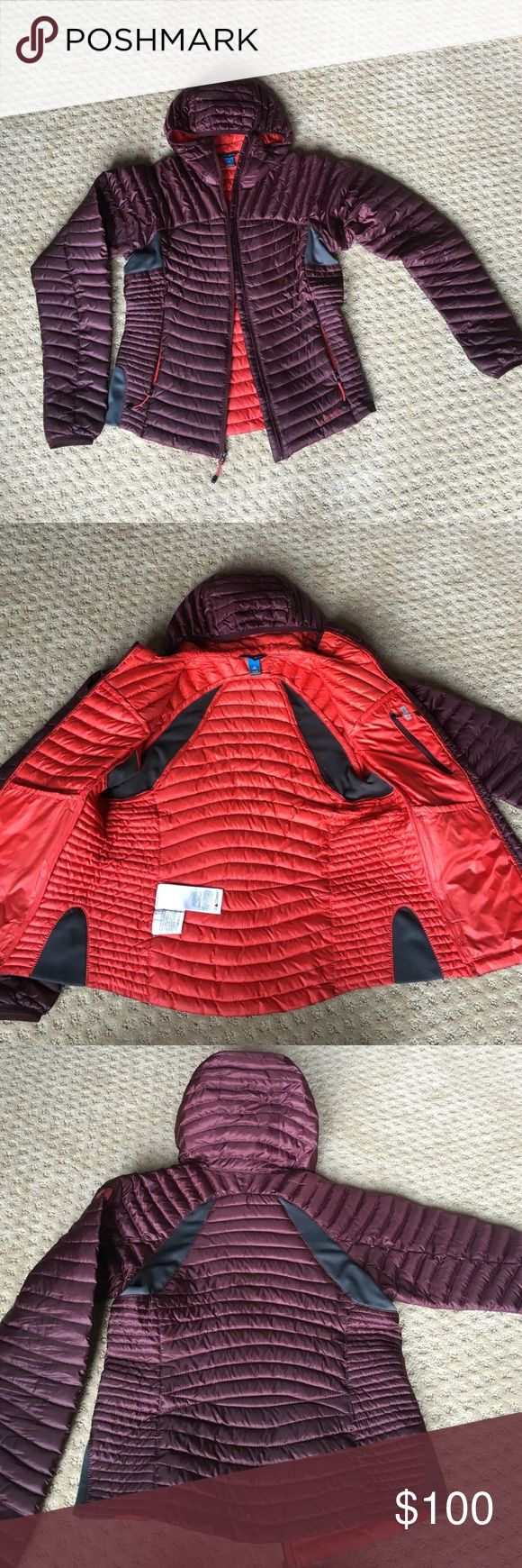 Women's MicroTherm StormDown Hooded Jacket Only worn once! Burgundy Eddie Bauer MicroTherm technology - ultralight and very warm. Orange interior. Two front zip pockets. Two inside - one zip and one deep stash on the inside breast. Goose Down insulated. Additional photos/info can be provided upon request! M for less. Jacket can be rolled up and packed into its own pocket for traveling. Eddie Bauer Jackets & Coats
