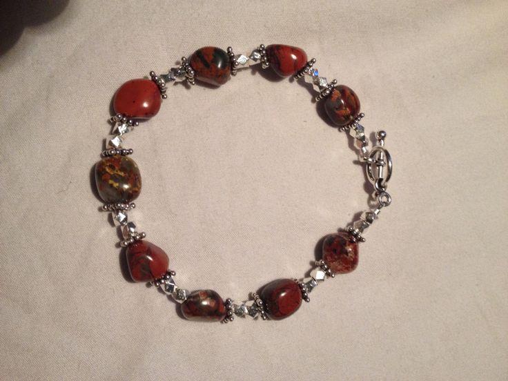 Chunky jasper and sterling silver bracelet