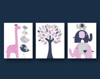 Marina rosa gris vivero decoración jirafa elefante vivero decoración de la habitación bebé niña vivero arte árbol chicos sala - Set de 3 impresiones