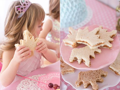 Princess party peanut butter and jelly crown sandwiches