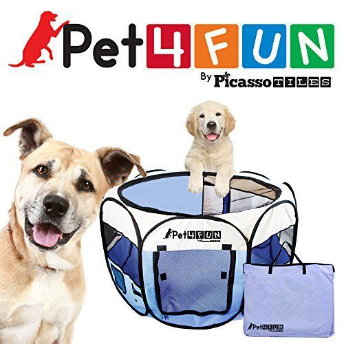 """PET4FUN® PN945 MEDIUM 43""""PORTABLE PET PUPPY DOGGIE CAT PLAYPEN KENNEL - 600D OXFORD CLOTH, TOOL-FREE SETUP, CARRYING BAG INCLUDED, REMOVABLE MESH COVER FOR SHADE/SECURITY, 2 POCKETS FOR STORAGE - BLUE - http://www.thepuppy.org/pet4fun-pn945-medium-43portable-pet-puppy-doggie-cat-playpen-kennel-600d-oxford-cloth-tool-free-setup-carrying-bag-included-removable-mesh-cover-for-shadesecurity-2-pockets-for-storage/"""