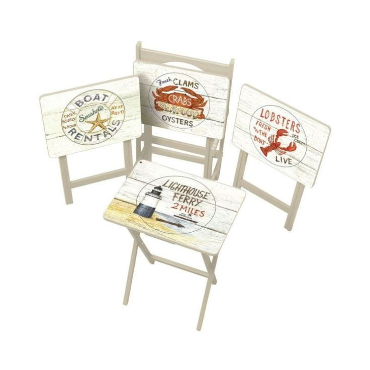 Cape Craftsman TV Tray Set with Stand Nautical Set of 4 Free Shipping