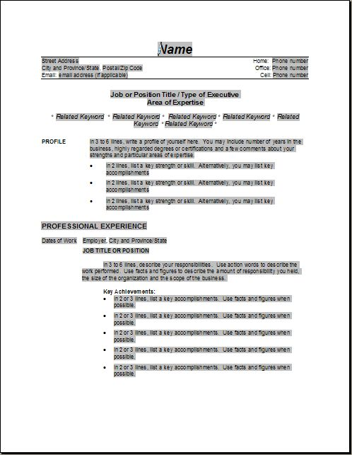 Resume Examples – Example Resumes, Templates Formats From Land That ...