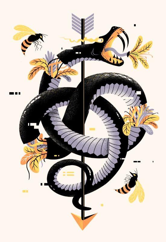 Pixel Snake Art Print