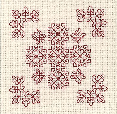 Red Butterflies Mini Blackwork Kit by Holbein Embroideries