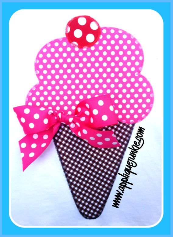 Ice Cream Cone Applique Design