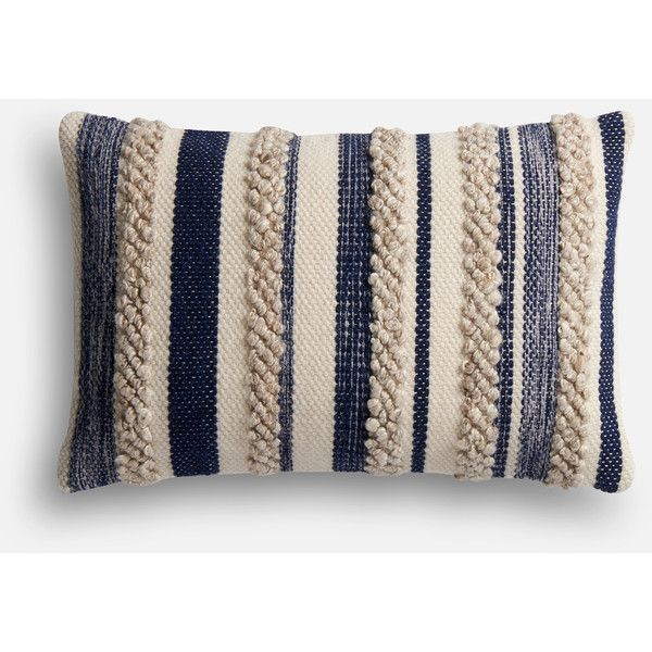 Pier 1 Imports Magnolia Home Zander Navy & Ivory Lumbar Pillow ($99) ❤ liked on Polyvore featuring home, home decor, throw pillows, navy, navy accent pillows, navy blue toss pillows, stripe throw pillows, pier 1 imports and dark blue throw pillows