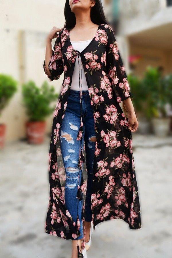 064a143ec29 Black Georgette Floral Shrug