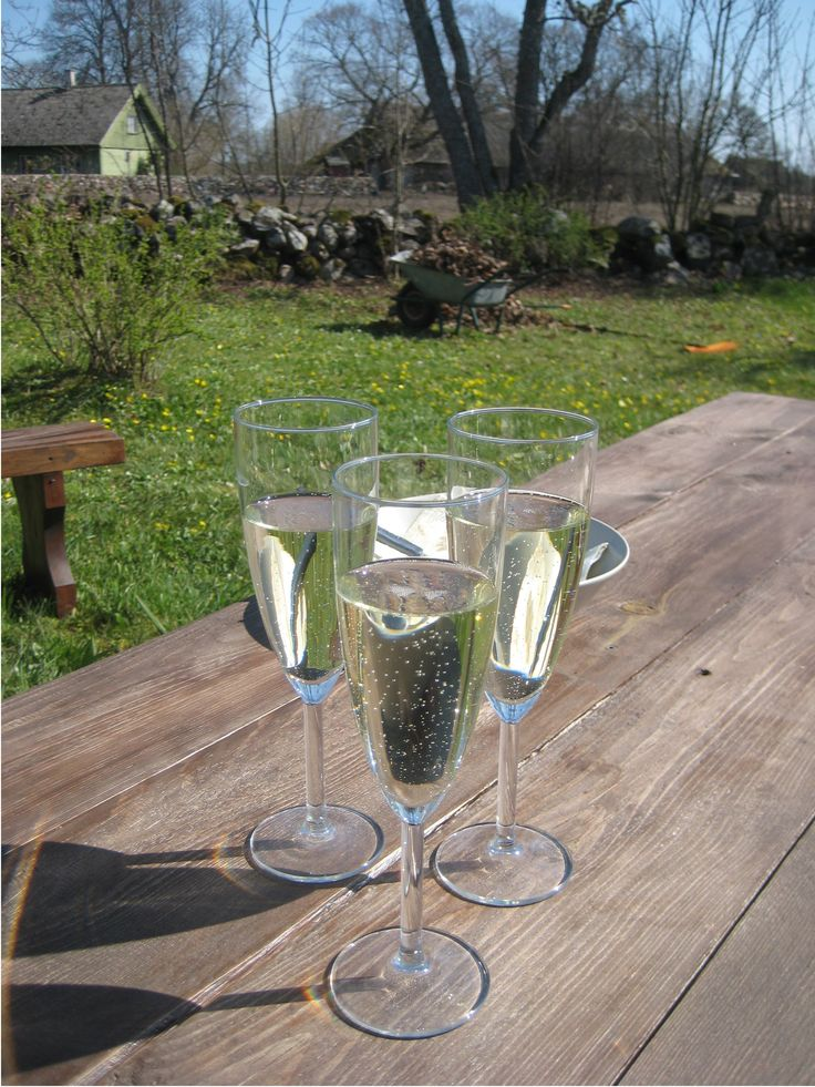 There's always time for a glass of bubbly in the middle of spring pruning