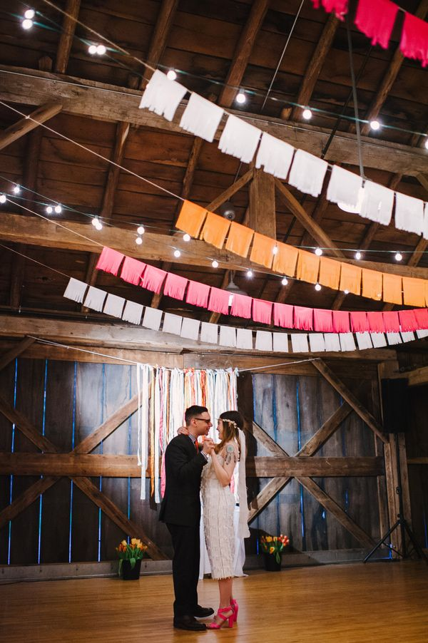 fringe bunting, photo by Veronica Varos http://ruffledblog.com/fallingwater-barn-wedding #weddingideas #bunting #receptions