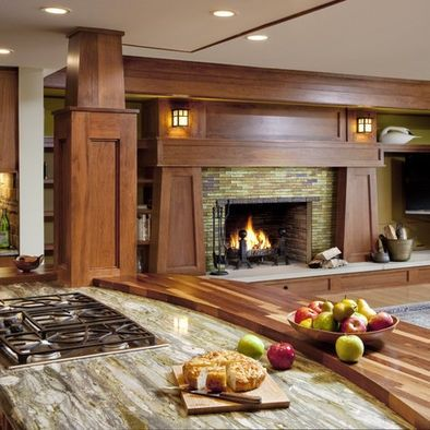 Fire place in craftsman house, but ave an entry way where this pass through is. Built in wine rack in the the entryway.