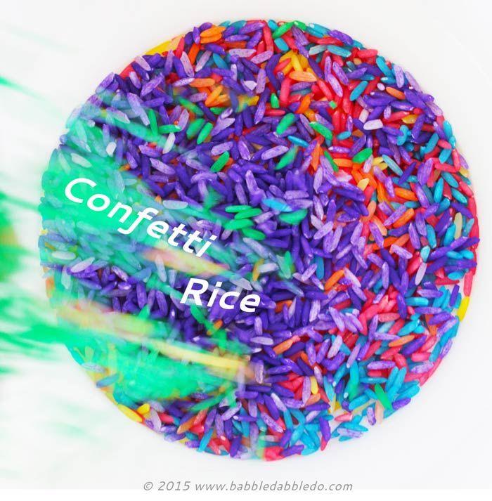 Sensory Play Ideas: Confetti Rice