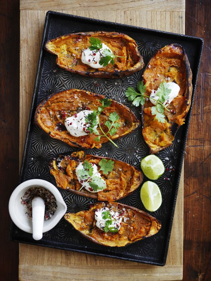 Crispy sweet potato skins make a great snack - add mince and garnish with red chilli and coriander.