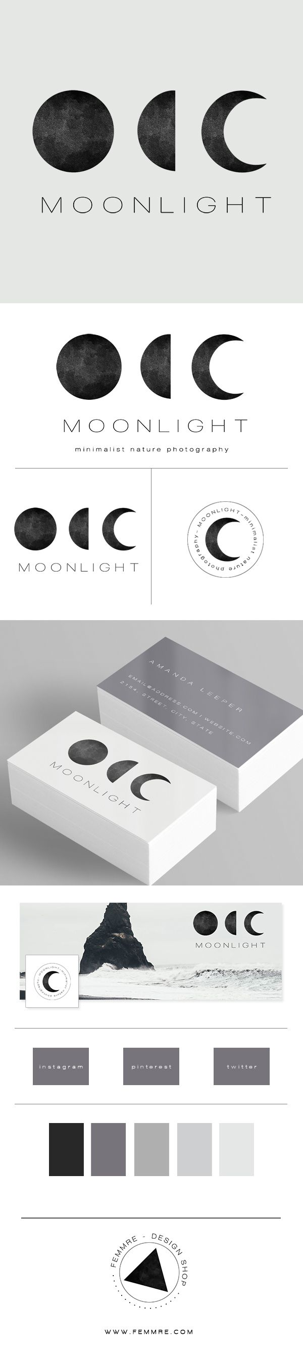 Moonlight Photographer Premade Brand Launch (sold only once) | FEMMRE - Chic Premade Branding | logo design, brand design, branding, premade brand, premade logo