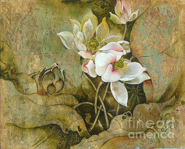 """""""In Hiding"""" from the series """"In the Lotus Land""""- Oil painting on board ( Schlagmetal, patina, oil) by Anna Miarczynska"""