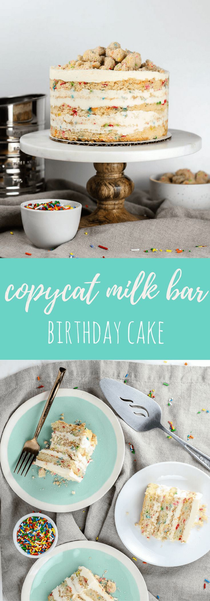 An adaptation of the famous Milk Bar birthday cake: melt-in-your-mouth layers of Funfetti cake with birthday cake soak, topped with vanilla cream cheese frosting and birthday cake crumbs. via @flourcoveredapron
