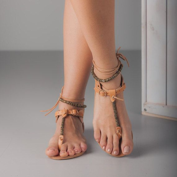 Tan Leather Sandals with Antiqued Gold Beads by TheMerakiCompany