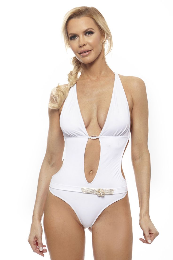 Visceglia Amber White Monokini with Swarovski Crystal Belt
