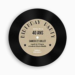 Invitation Anniversaire Adulte - 45T Vinyle - 0