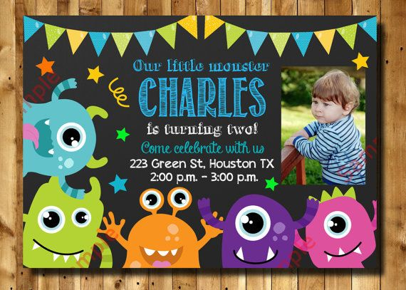Monster Birthday Invitation 1st 2nd 3rd Any Age by DigitAllParty