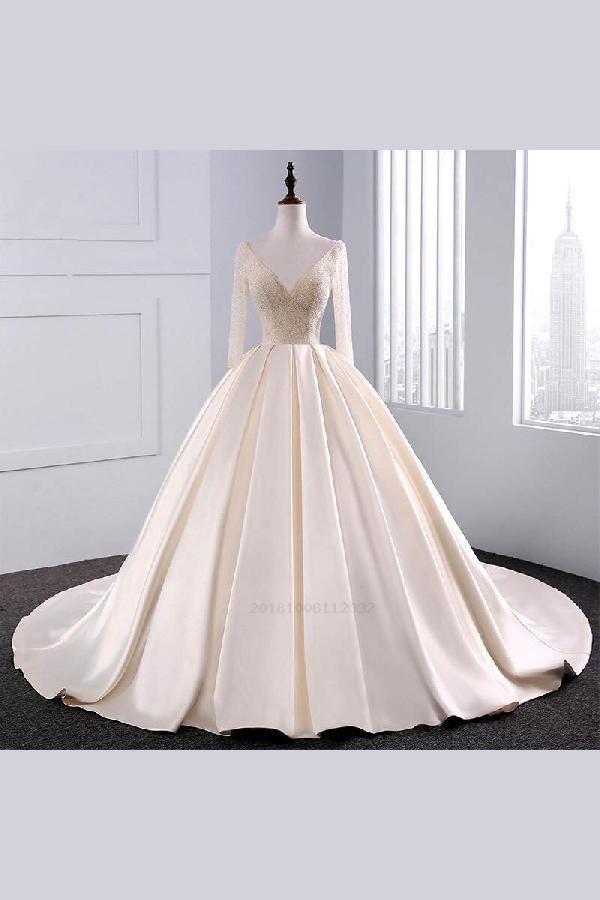 Custom Made Enticing Champagne Wedding Dress Ball Gown Wedding