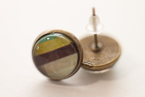 SALE. Vintage coloring stripped Stud Earrings, minimal wearable art for her. Geometric modern jewelry.