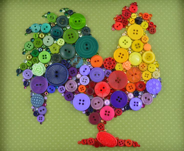 Rooster  Button Art Vintage Buttons by PaintedWithButtons on Etsy, $80.00