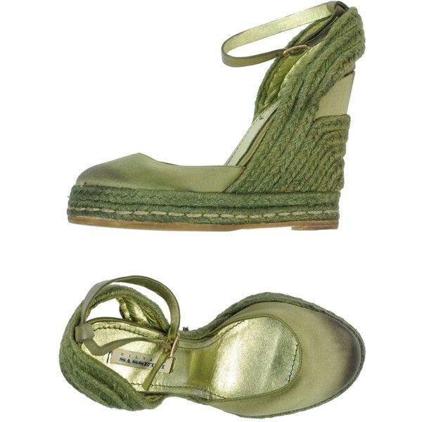 Silvano Sassetti Espadrilles (73 CAD) ❤ liked on Polyvore featuring shoes, sandals, wedges, military green, ankle tie wedge sandals, buckle sandals, espadrille sandals, wedge sandals and ankle wrap wedge sandals