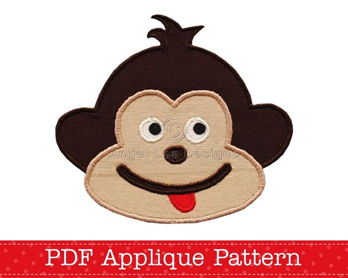 Cheeky Monkey Applique Template, Animal, DIY, Children, Boy, Girl, PDF Pattern - by AngelLeaDesigns on Craftumi