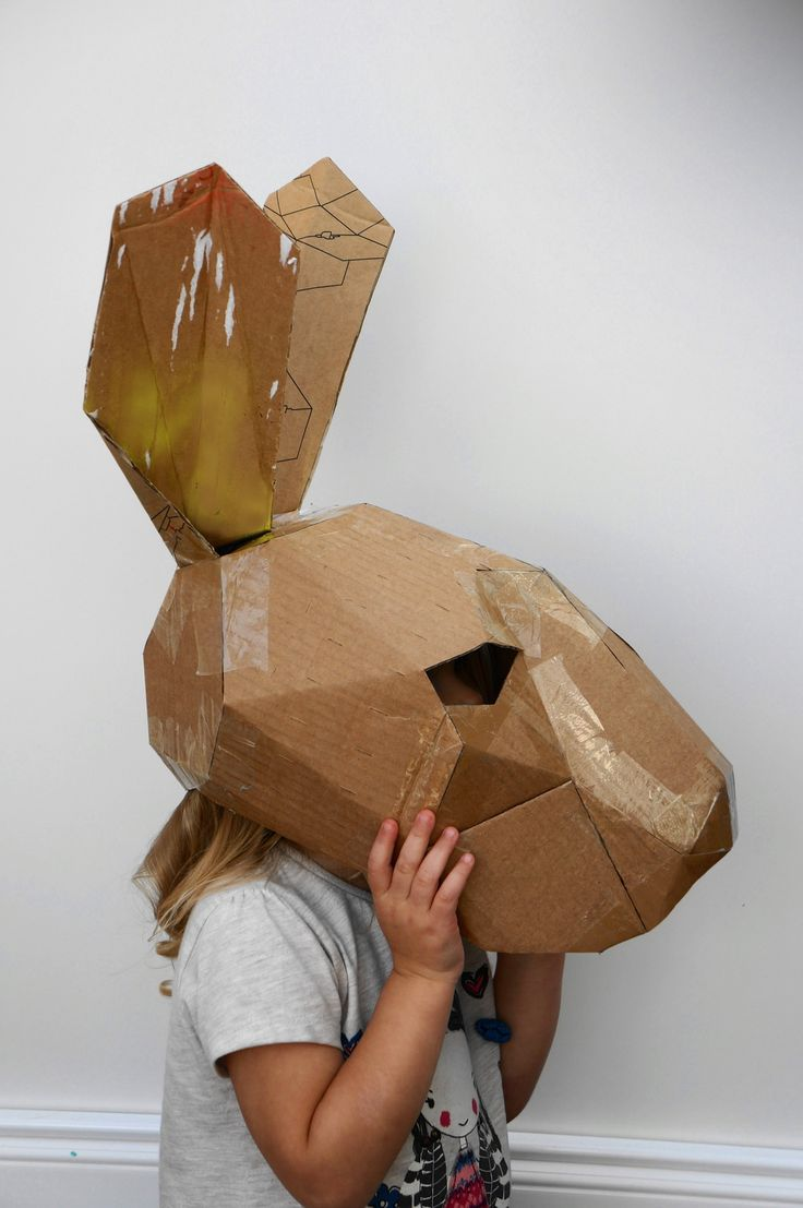 Stuck for a fancy dress costume? make your own Hare Mask from recycled cardboard boxes. These plans let you turn any recycled card into full head hare Mask. The templates come plain white and as you can see from the photos you can decorate them however you like.