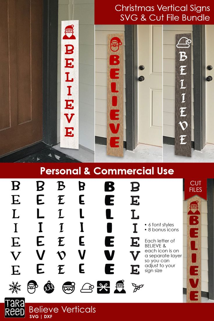 Believe Vertical Signs Christmas SVG Files for Crafters