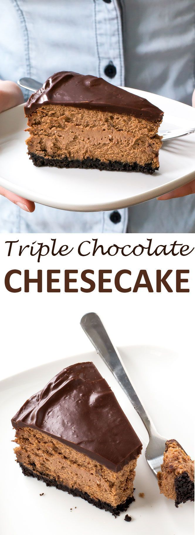 Soft and Creamy Triple Chocolate Cheesecake.