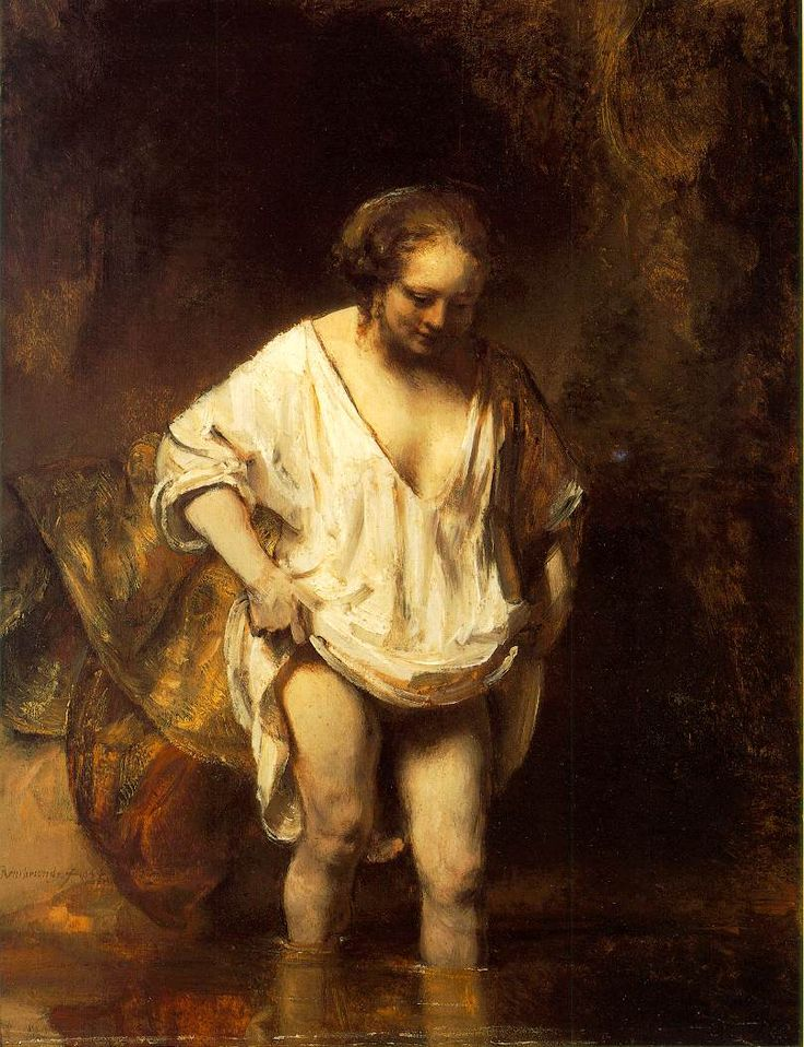 ''Rembrandt, Hendrickje Bathing in a River, 1654  A turning point.''  A wonderful example of freely-painted drapery.