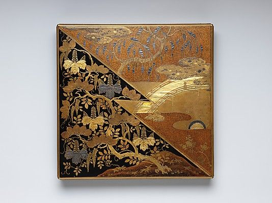 (Japan) Stationery Gold Box in Kodaiji style. Momoyama period (1573–1615). early 17th century CE. Gold, silver-foil inlay, Gold maki-e, on lacquered wood. 21×45.6cm. The Metropolitan Museum of Art
