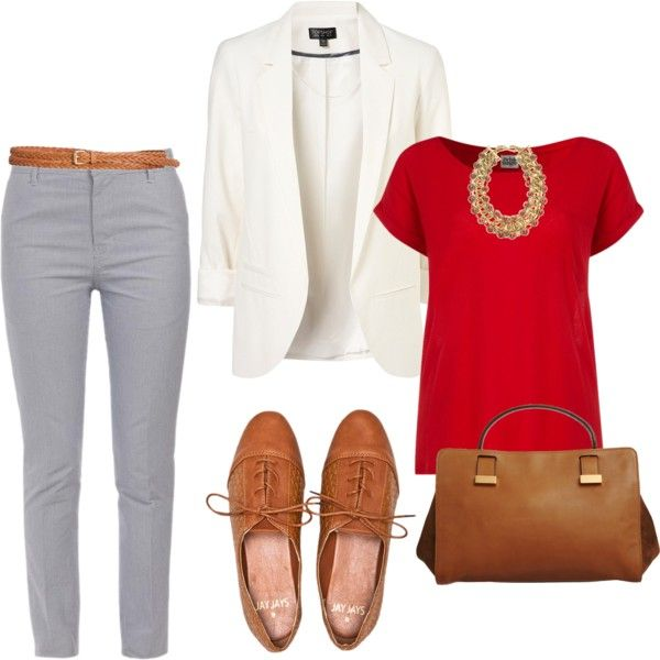 White blazer, Red tee, Gray trousers, Brown shoes and belt, Gold accessories - Casual Outfit