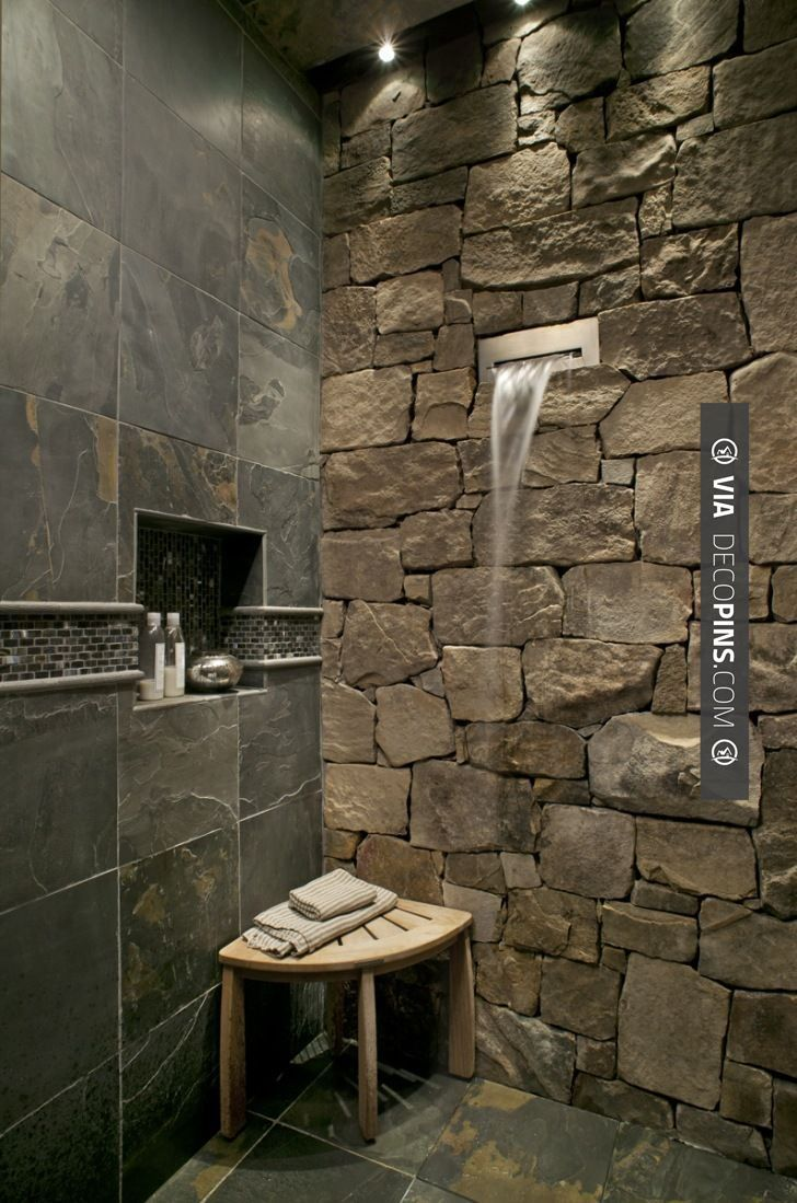 So good - waterfall shower   CHECK OUT MORE IDEAS FOR SHOWERS AT DECOPINS.COM   #showers #masterbathrooms #bedroom #bedrooms #bathroom #bathrooms #homedecor #beds #interiordesign #home #homedecoration #design