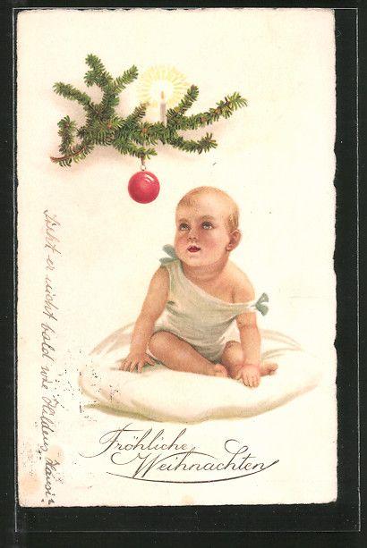 """postal antigua: AK """"Fröhliche Weihnachten!"""", Baby mit Tannenzweig"""
