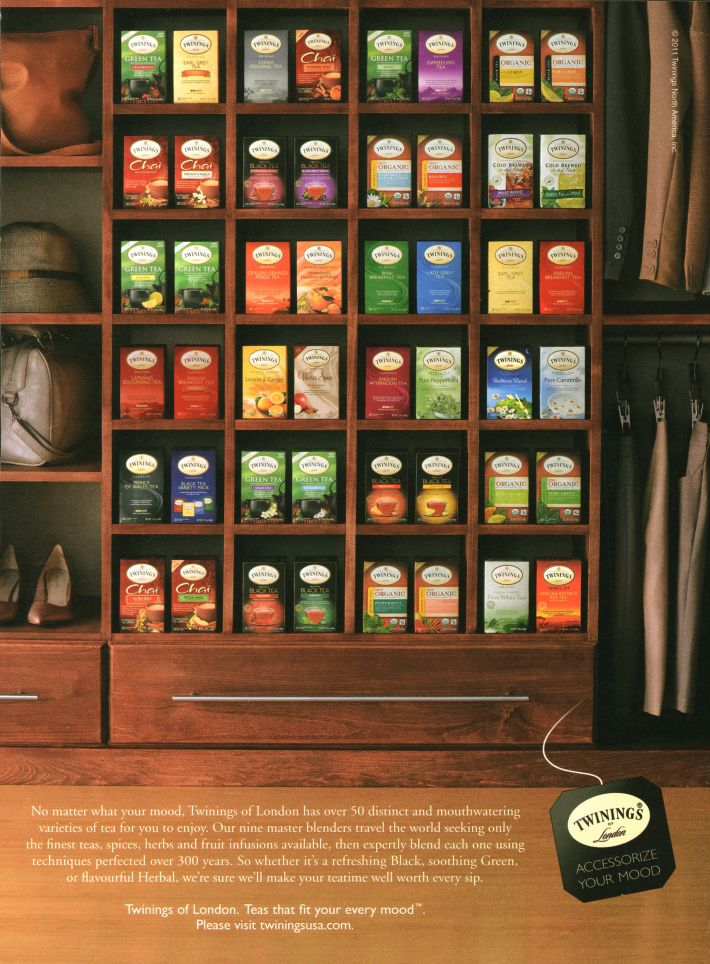 Twinings Tea. I would love to have a cabinet for my collection of teas.