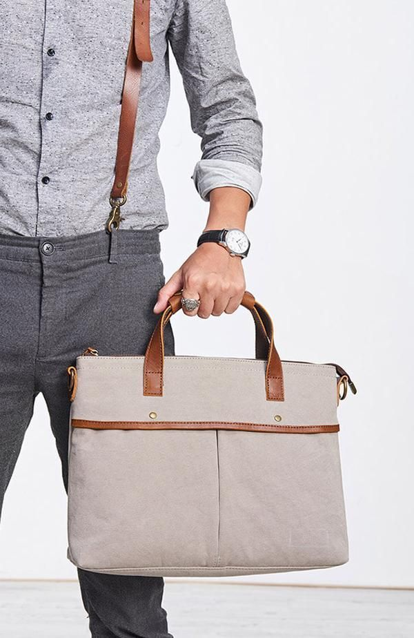 cc9bd36a49e7 Canvas And Leather Tote Bag, Briefcase For Man, 14