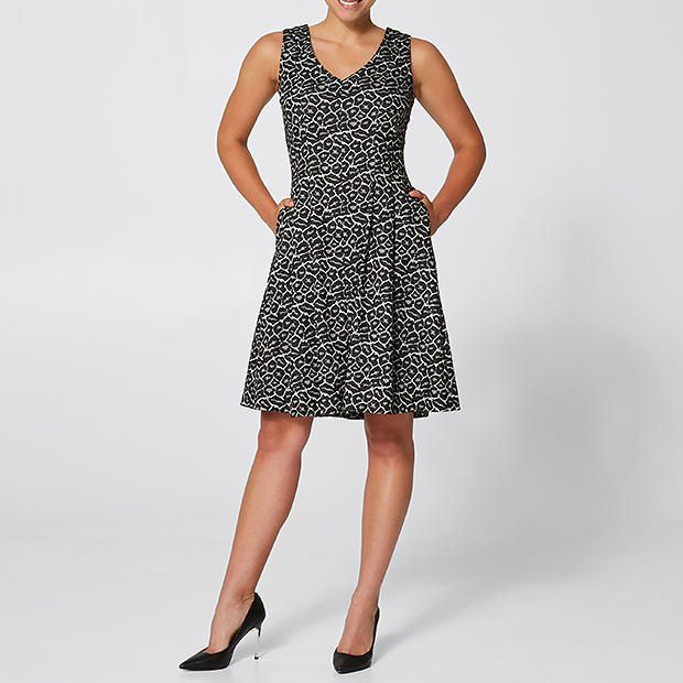Jacquard Fit And Flare Dress - Grey