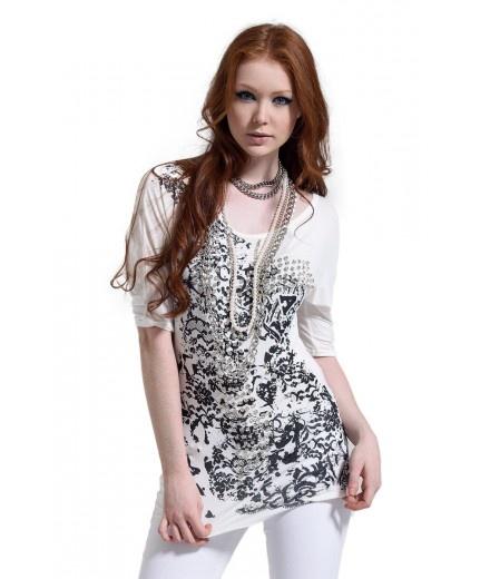 maxi tshirt abito con borchie http://shop.fracomina.it/it/maglietta-tshirt-donna-stampata-borchie.html