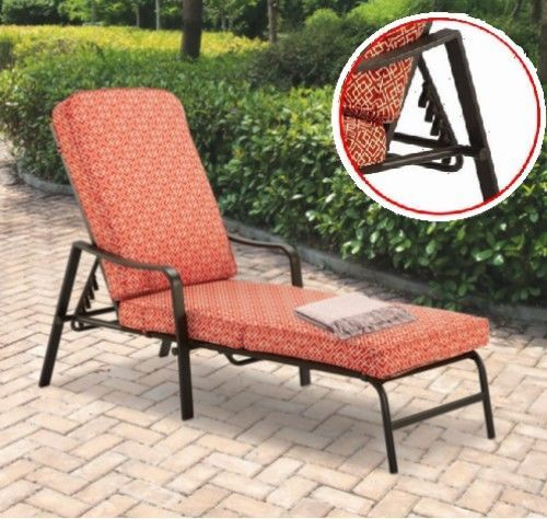 Outdoor Chaise Lounge Chair Patio Furniture Adjustable Balcony Pool Cushion Bed #Mainstays