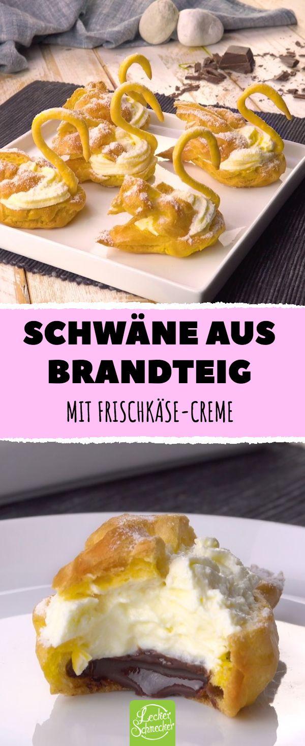 Schwäne aus Brandteig – mit Frischkäse-Creme #r…