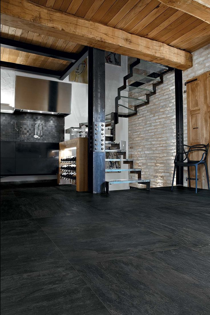 Aspire by FINE in Noir is available in 12x12 and 12x24 field tile with coordinating 2x24 bullnose. http://www.galleriastone.com/Products/tile/porcelain/aspire/