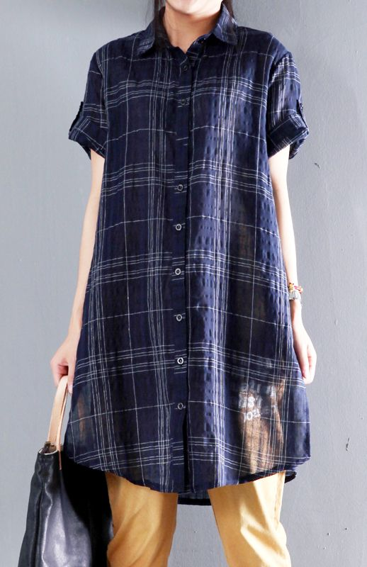 Natuaral Linen navy plaid summer dress thin shirt sundresses