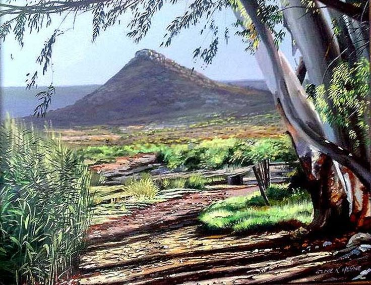 """#24 - """"Blue Gum & Kopje""""- oils & brush on board - 500 x 800mm ( 31 x 19 inches) framed   Total price including delivery by international parcel post .= USD$275"""