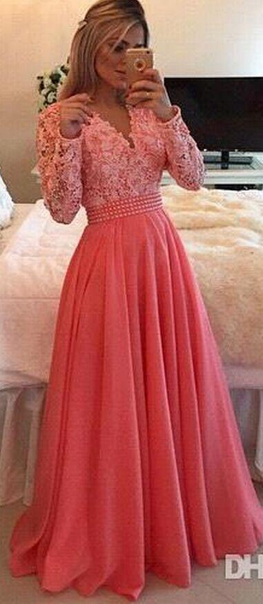 Lindo apliques vestido de noite, frisado uma linha de vestidos longos com pérolas, as mulheres se vestem   – Look do dia ❤